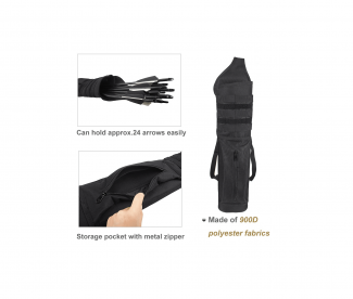KRATARC Archery Multi Function Heavy Duty Back Arrow Quiver with Molle System Shoulder Hanged Target Shooting Quiver for Arrows Black for Right Handed 3