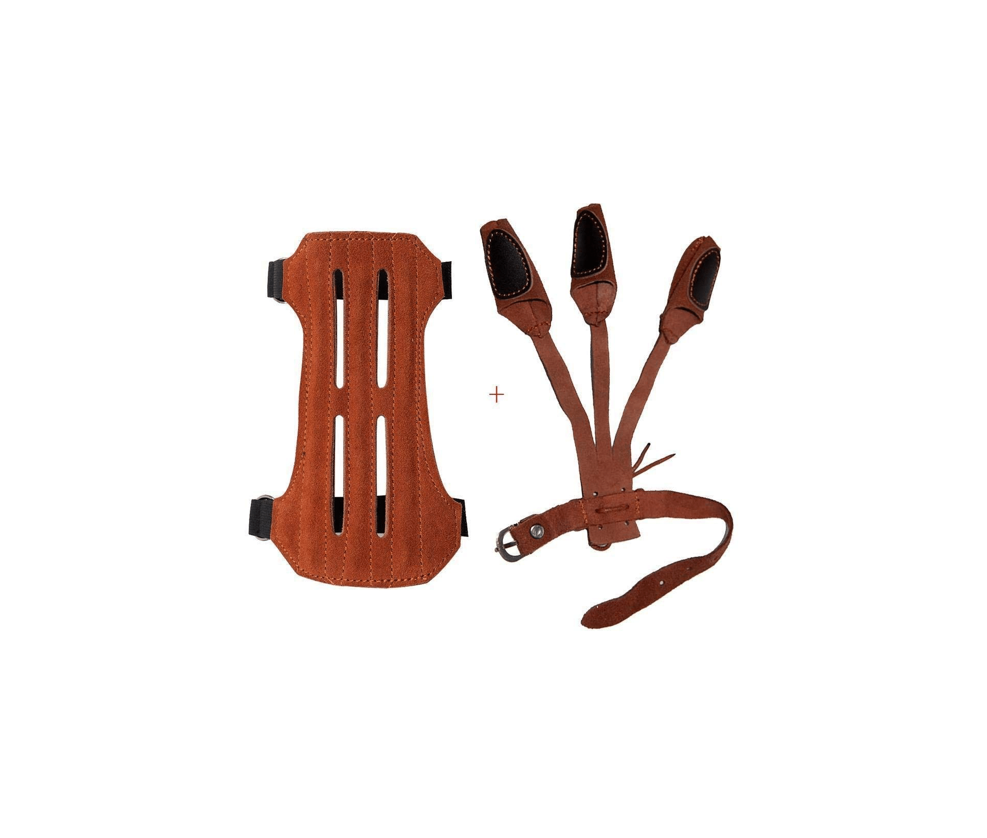 TOPARCHERY Leather 2 Straps Arm Guard & 3 Finger Protective Gloves for Recurve Compound Long Bow Hunting Shooting Brown